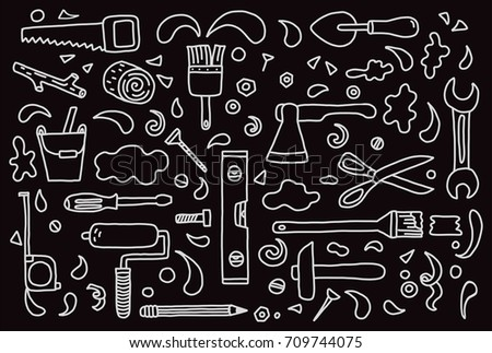 Set of hand drawn doodle construction tools. Vector illustration with cartoon wrench, bolt, scissors, hammer, saw, home building and repair tool. Sketch style.