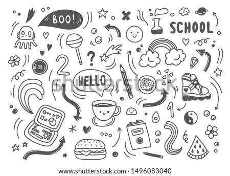 Set of hand drawn doodle elements,arrows,stars,symbols,office or school objects and stationery.Funny black and white doodle background.Vector clip art