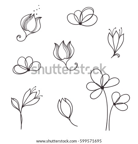 stock-vector-set-of-hand-drawn-doodle-flowers-and-floral-design-elements