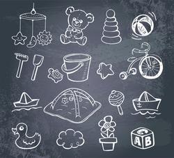Set of hand-drawn doodle icons baby toys and accessories on a blackboard..