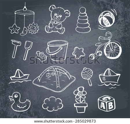 set of hand drawn doodle icons