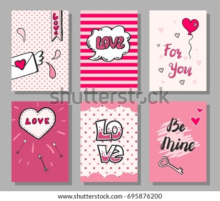 Set of hand drawn doodle style love card. Vector illustration with heart, arrow, bubble, lettering love text elements for wedding, greating,valentine's day card, flyer, poster design template.
