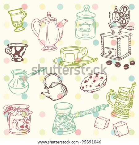 set of hand drawn doodle   tea