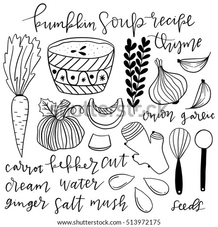 Set of hand drawn doodle vector elements. Illustrated pumpkin soup recipe. Vintage cooking book. Step by step recipe.
