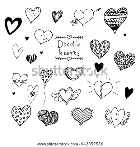 Set of hand drawn doodle vector hearts isolated on white background.