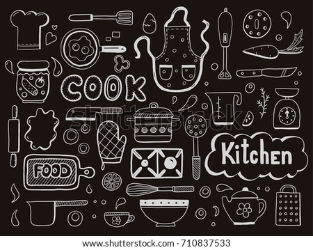 Set of hand drawn doodle with cooking ingredient, food, bakery and kitchen utensils elements. Vector illustration for icon, restaurant menu, recipe book template. Cartoon sketch style.
