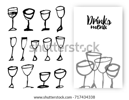 Set of hand drawn drink cups. Illustration of design template with wine glass. Vector Illustration.