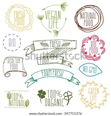 set of hand drawn eco frendly