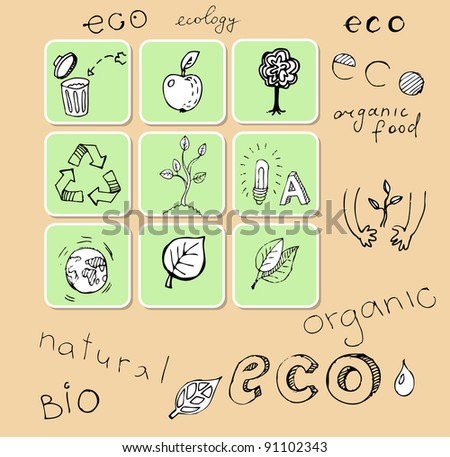 Set of hand-drawn eco icons (vector) - stock vector