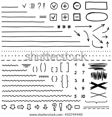 Set of hand drawn elements for edit and select text. Black marker.