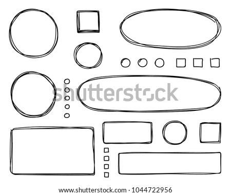 Set of hand drawn elements for selecting text. Oval, round, rectangular and square frames and labels.