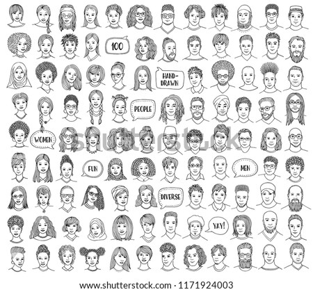 Set of 100 hand drawn faces, colorful and diverse portraits of people of different ethnicities, black and white illustration