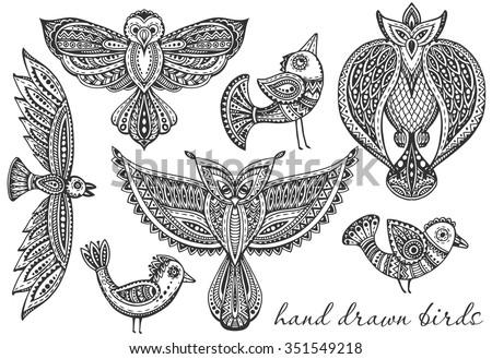 set of hand drawn fancy birds