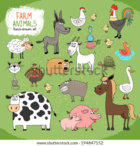 set of hand drawn farm animals