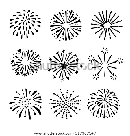 Set of hand drawn fireworks and sunbursts. Isolated black white vector objects, icons.
