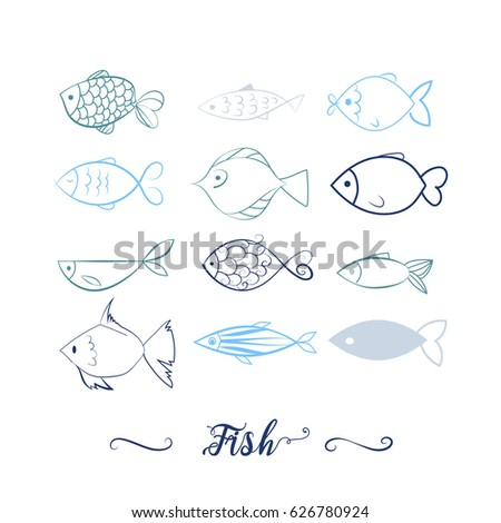set of 12 hand drawn fishes