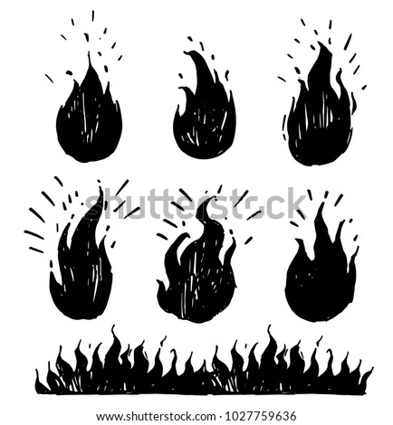 set of hand drawn flames vector