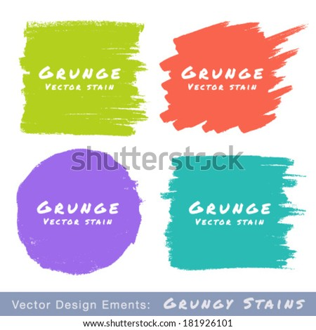 Set of Hand Drawn Flat Grunge Stains on White Background. Vector Illustration