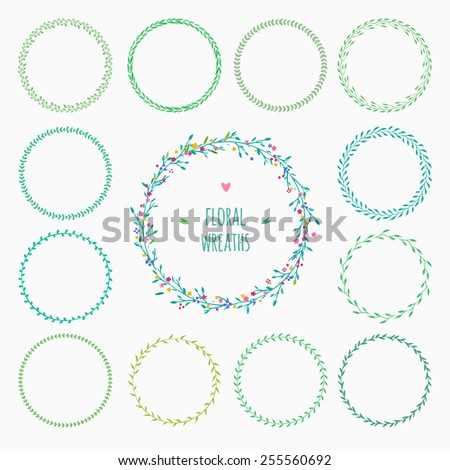 set of hand drawn floral wreaths, perfect for spring design