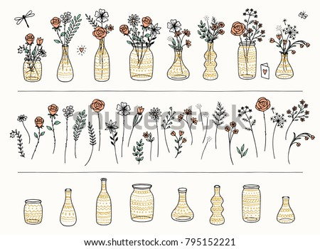 Set of hand drawn flowers and golden vases for Valentine's Day or Birthday cards