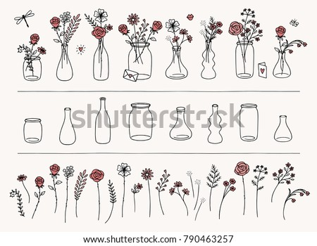 Set of hand drawn flowers and vases for Valentine's Day