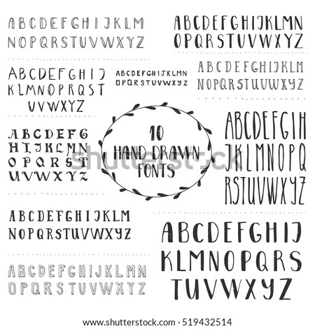set of 10 hand drawn fonts