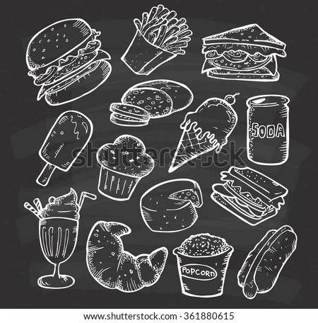 set of hand drawn food and