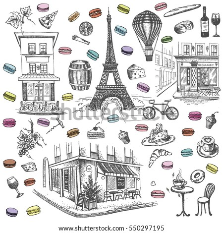 set of hand drawn french icons