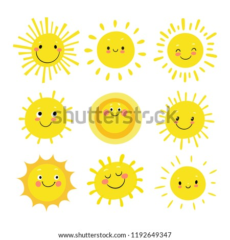 Set of hand drawn funny cute sun icon illustration