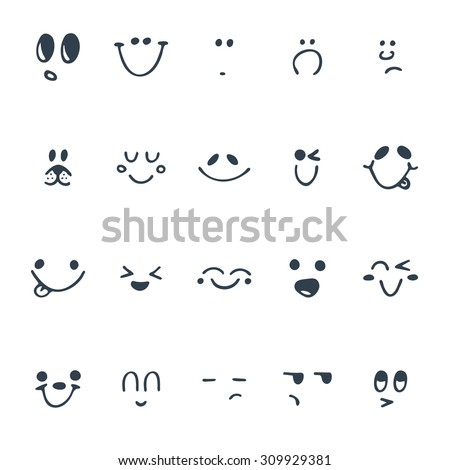 Shutterstock Set of hand drawn funny faces. Happy faces. Vector illustration