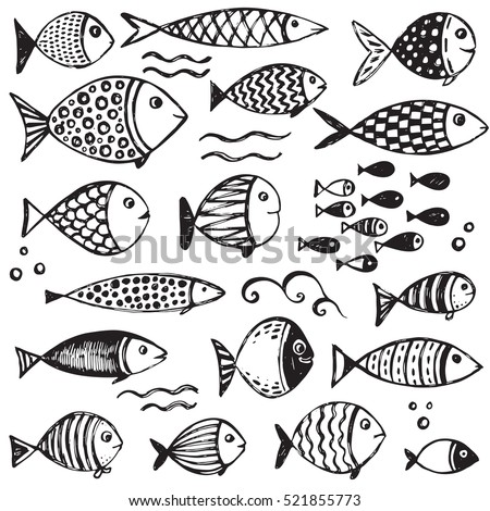 set of hand drawn funny fishes