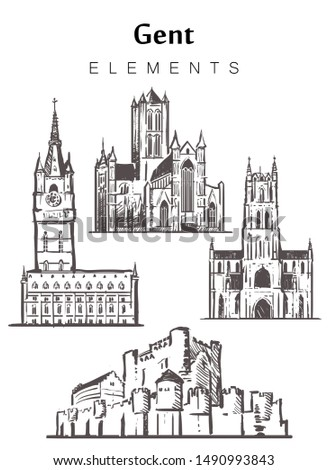 Set of hand-drawn Gent buildings, Gent elements sketch vector illustration. St Bavon's Cathedral, Saint Nicholas Church, castle of the counts of Flanders, Beffroy.