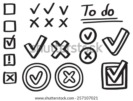 Set of hand drawn graphic elements. Checkmarks, X marks and boxes, isolated on white background.