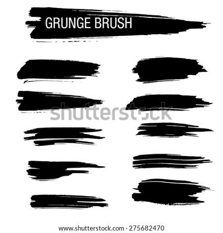 Set of Hand Drawn Grunge Brush
