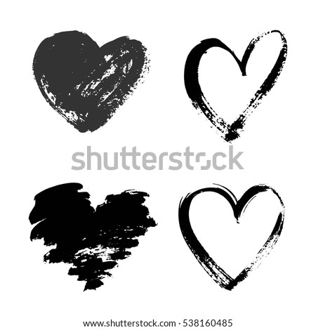 Set of hand drawn grunge hearts isolated on white background.