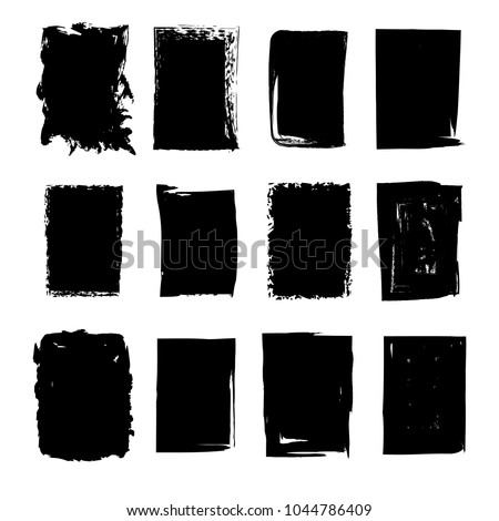 Set of hand drawn grunge rectangle stains for background