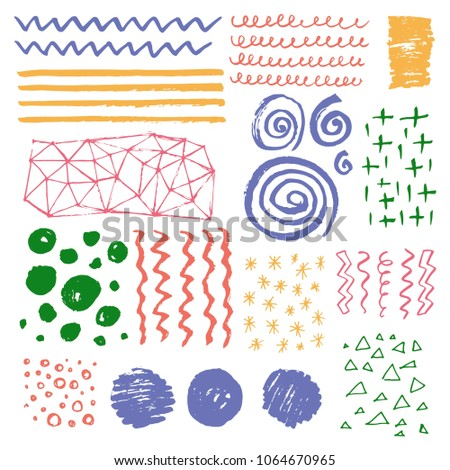 Set of hand drawn grungy texture elements with different shape: lines, circles, waves, spirals, brush strokes. Vector illustration painting by brush-pen for your background, banner, pattern design.