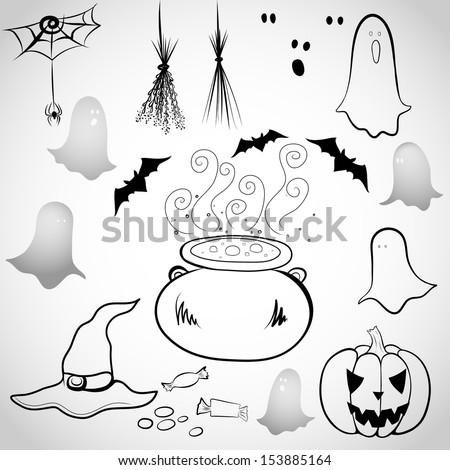 Spooky Cartoon Ghosts Spooky cartoon ghost, bat,