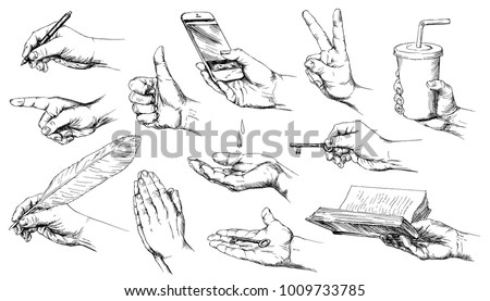 Set of hand drawn hands.