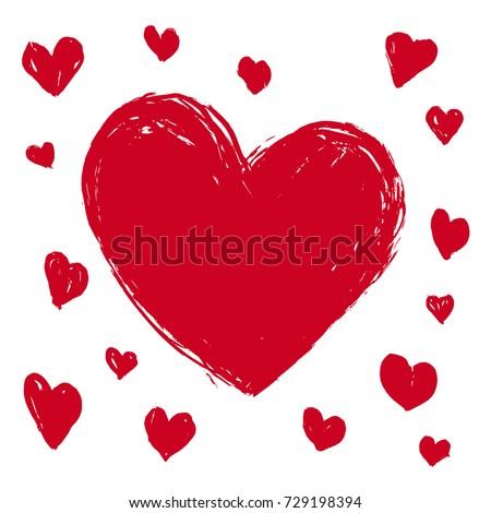 set of hand drawn heart