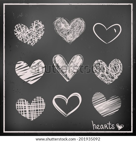 set of hand drawn hearts on