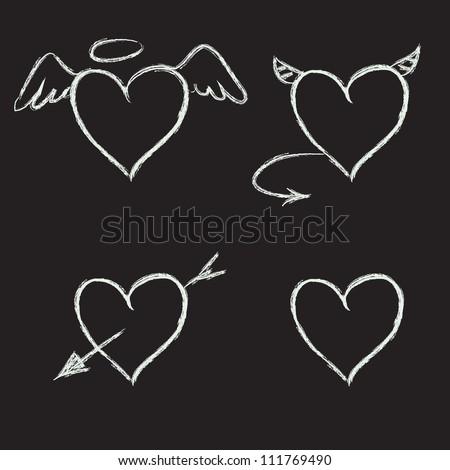 Set of hand drawn hearts on chalkboard background. Vector illustration.