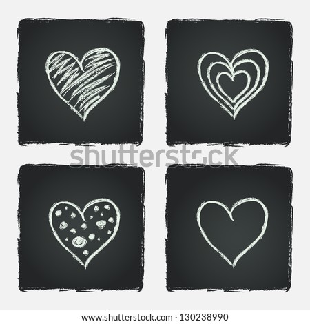 Set of hand drawn hearts on chalkboard background. Vector illustration.