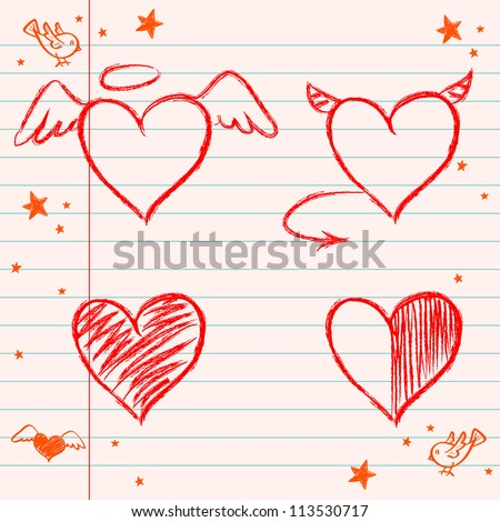 Set of hand drawn hearts on lined notebook paper background. Vector illustration.