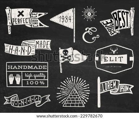 Set Of Hand Drawn Hipster Vintage Badges, Borders, Frames And Labels On  Chalk Board