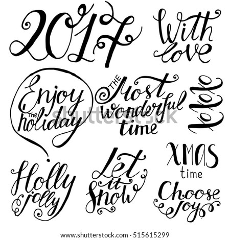 Set of hand drawn holiday lettering. Christmas and New Year phrases ...