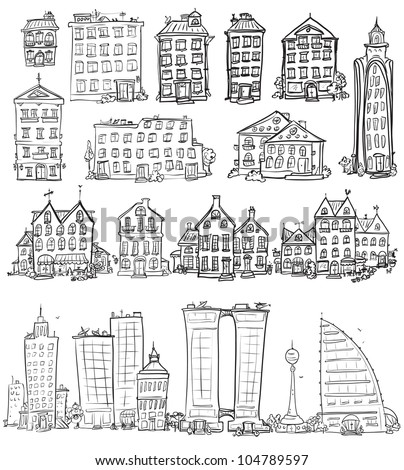 Set of hand drawn houses, doodled city, town doodles set