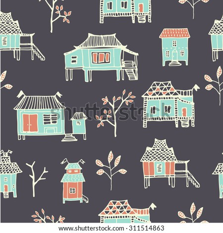Set of Hand drawn houses. Oriental countryside cottage in vector. Seamless pattern.