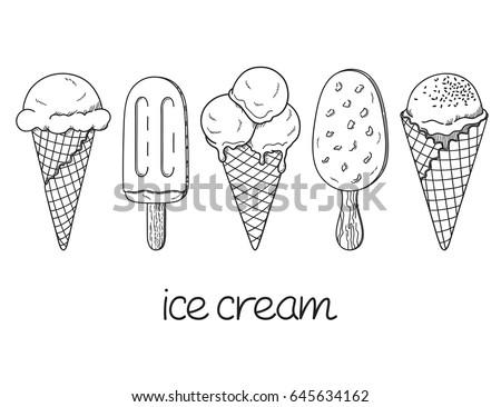Set of hand drawn ice cream cones and bars