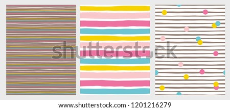 Set of 3 Hand Drawn Irregular Striped Vector Patterns. Horizontal Colorful Stripes on a White and Brown Background. Abstract Infantile Style Design. White, Pink, Blue and Yellow Lines and Dots.